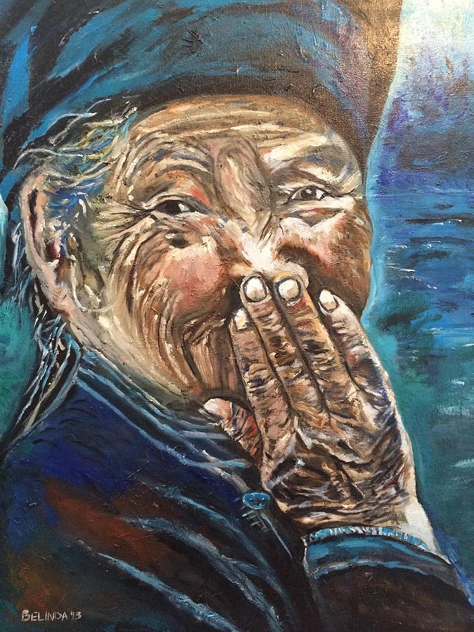 Old Woman Painting - Dont Worry Be Happy by Belinda Low