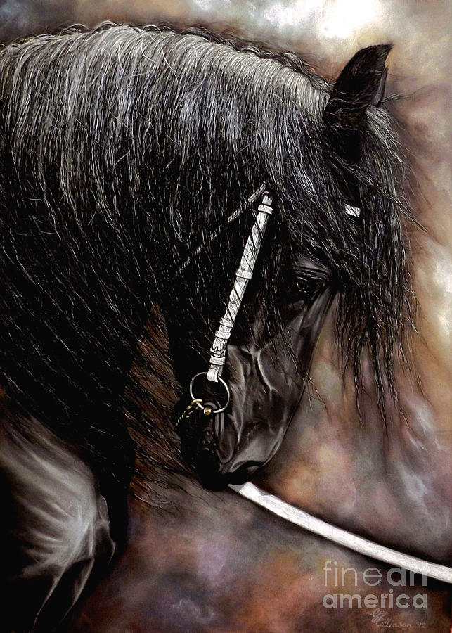 Friesian Horse Painting - Dontt Bite The Show Lead by Caroline Collinson