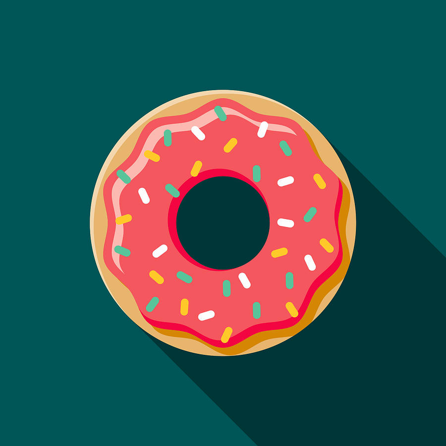 Donut Flat Design Coffee & Tea Icon Drawing by Bortonia