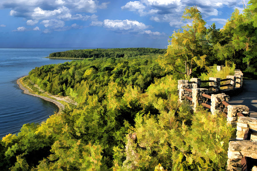 Door County Painting - Door County Peninsula State Park Svens Bluff Overlook by Christopher Arndt & Door County Peninsula State Park Svens Bluff Overlook Painting by ...