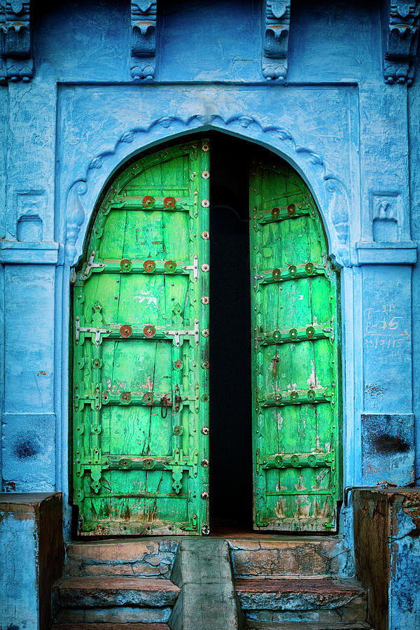 Door In The Blue City - Jodhpur, India Photograph by Powerofforever