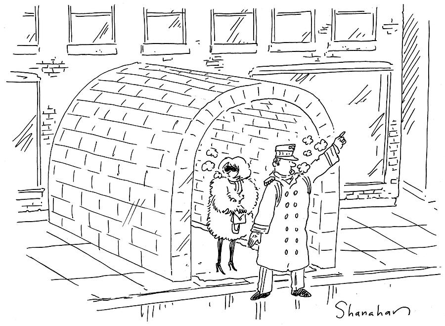 Cartoon Drawing - Doorman Hailing Taxi For Woman Outside Igloo by Danny Shanahan