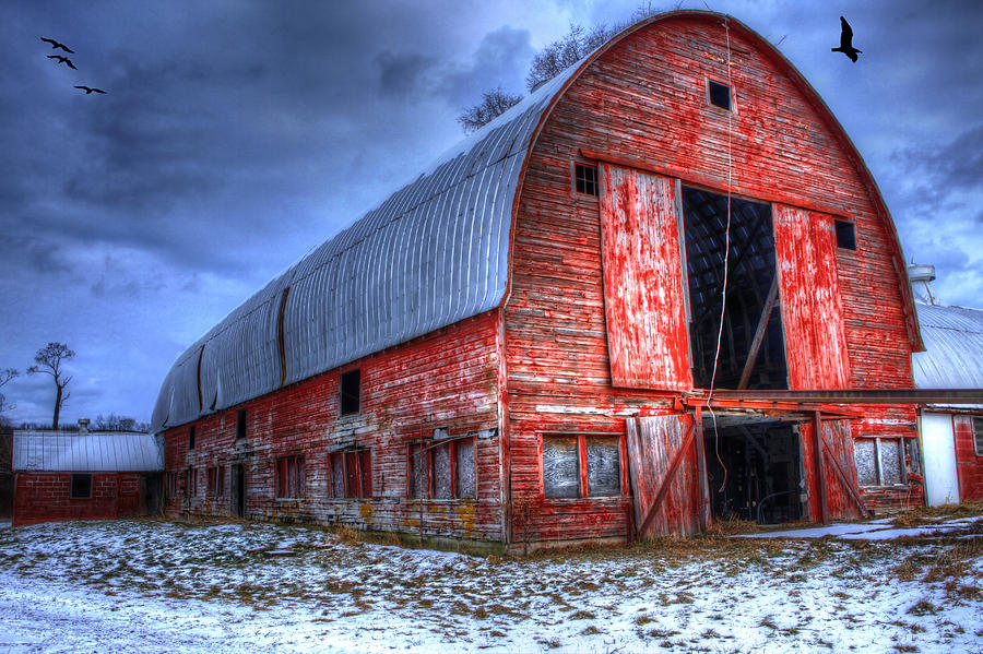 Red Barns Photograph - Doors Open Wide by David Simons