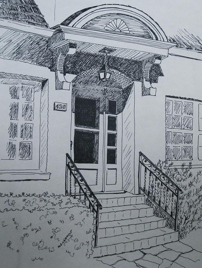 Pen And Ink Drawing - Doorway by Mary Ellen Mueller Legault