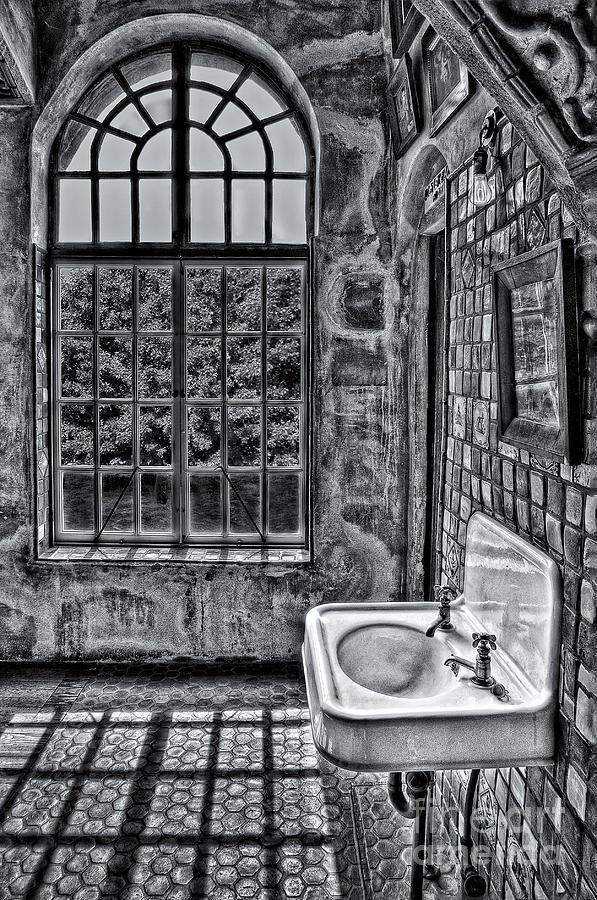 Byzantine Photograph - Dormer Bathroom Side View Bw by Susan Candelario