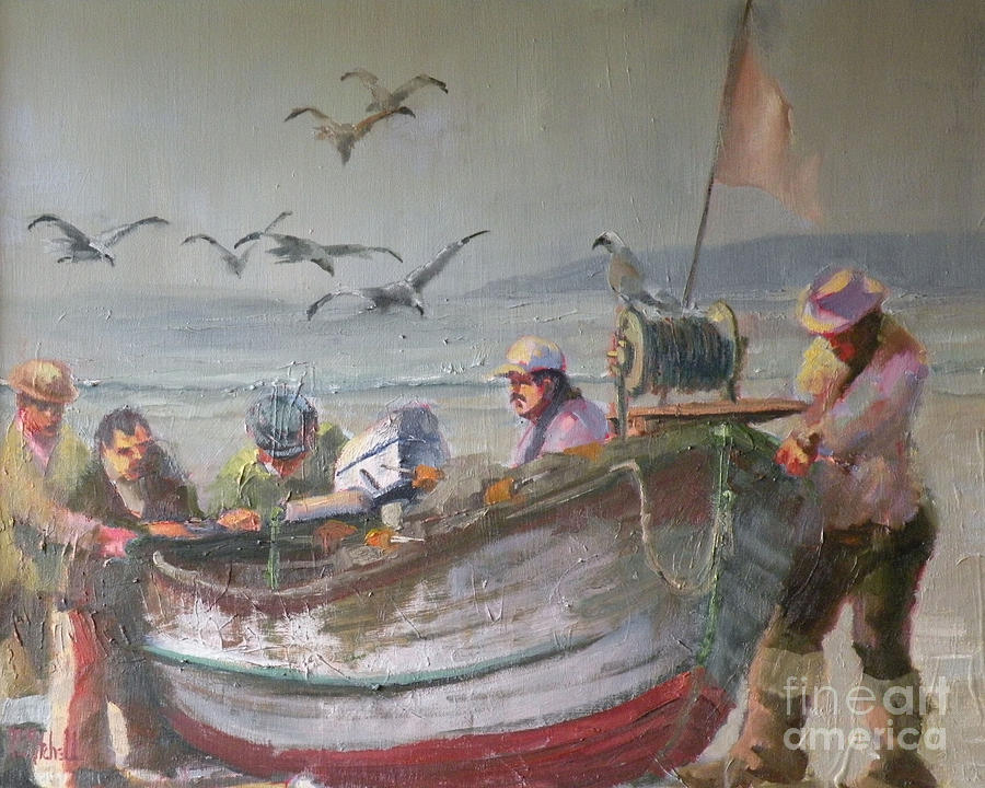 Boat Painting - Dory Fishermen by Ray Mitchell