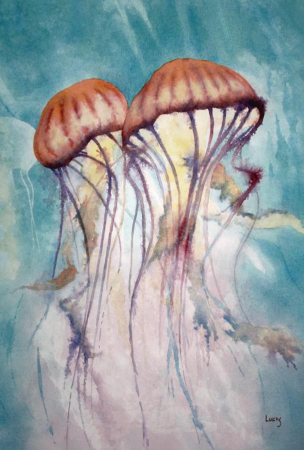 Jellyfish Painting - Dos Jellyfish by Jeff Lucas