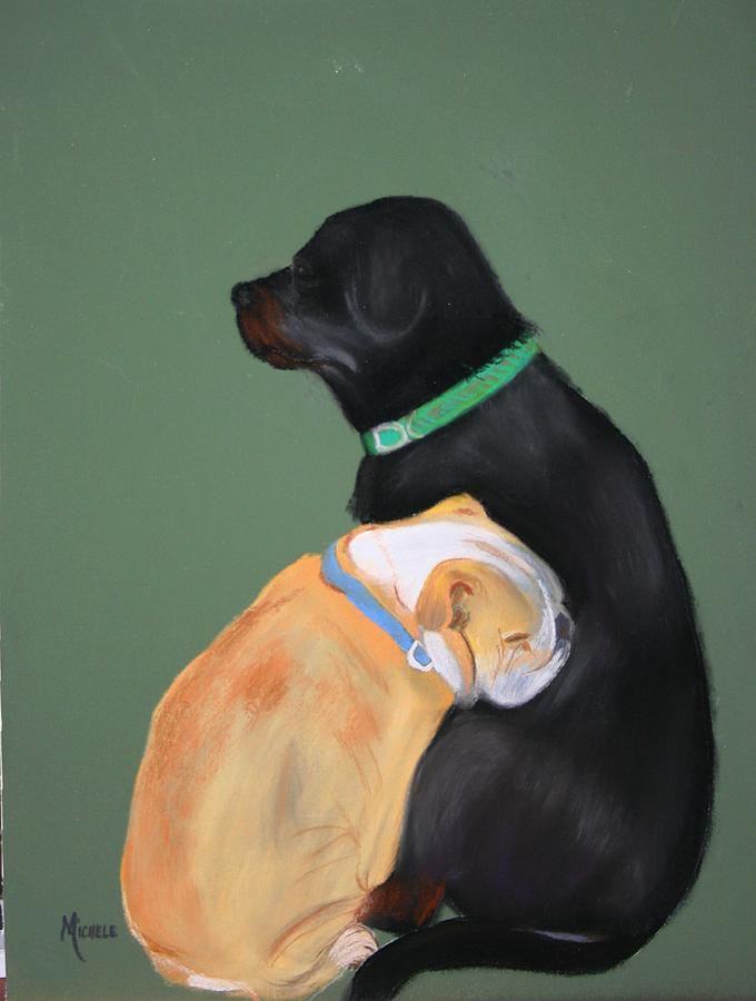 Dogs Pastel - Doser And Cody by Michele Turney