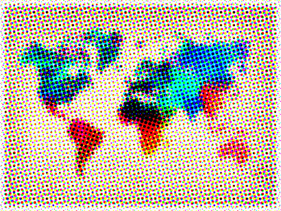 World Map Painting - Dotted World Map by Naxart Studio