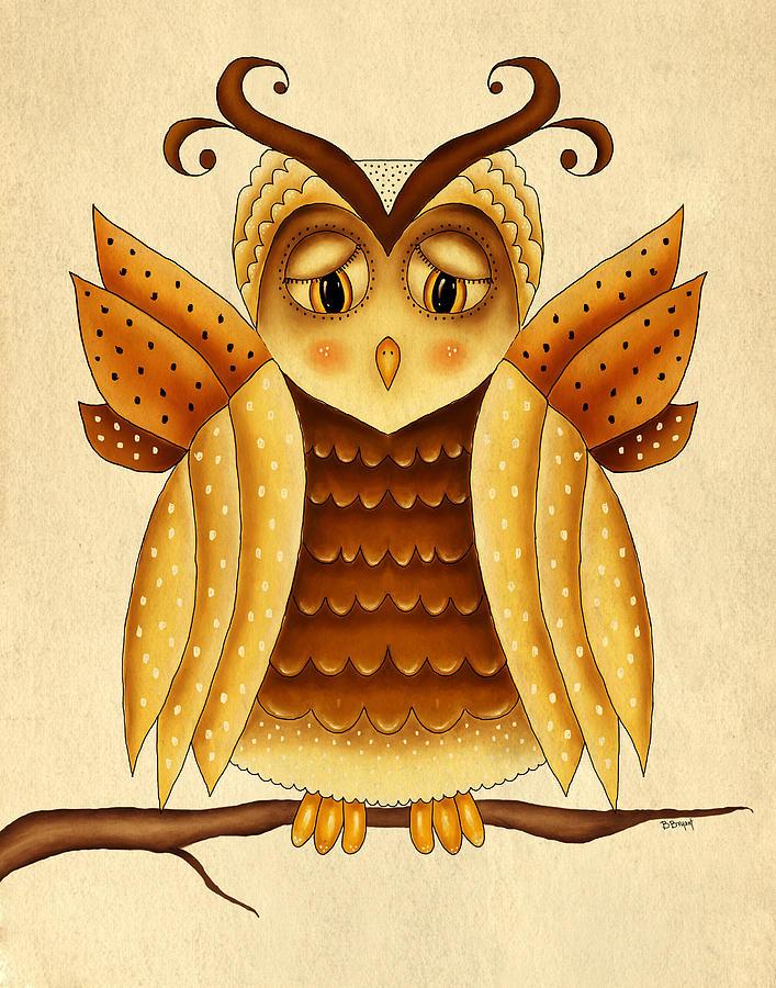 Owl Painting - Dottie by Brenda Bryant
