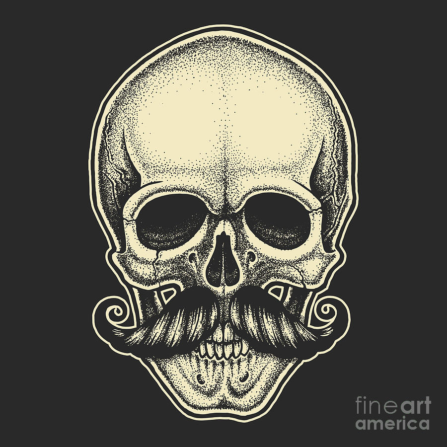 Symbol Digital Art - Dotwork Styled Skull With Moustache by Mr bachinsky