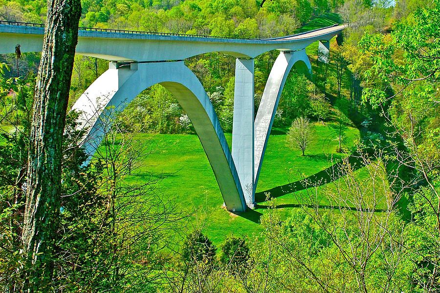 Tennessee Photograph - Double-arched Bridge Spanning Birdsong Hollow At Mile 438 Of Natchez Trace Parkway-tennessee by Ruth Hager