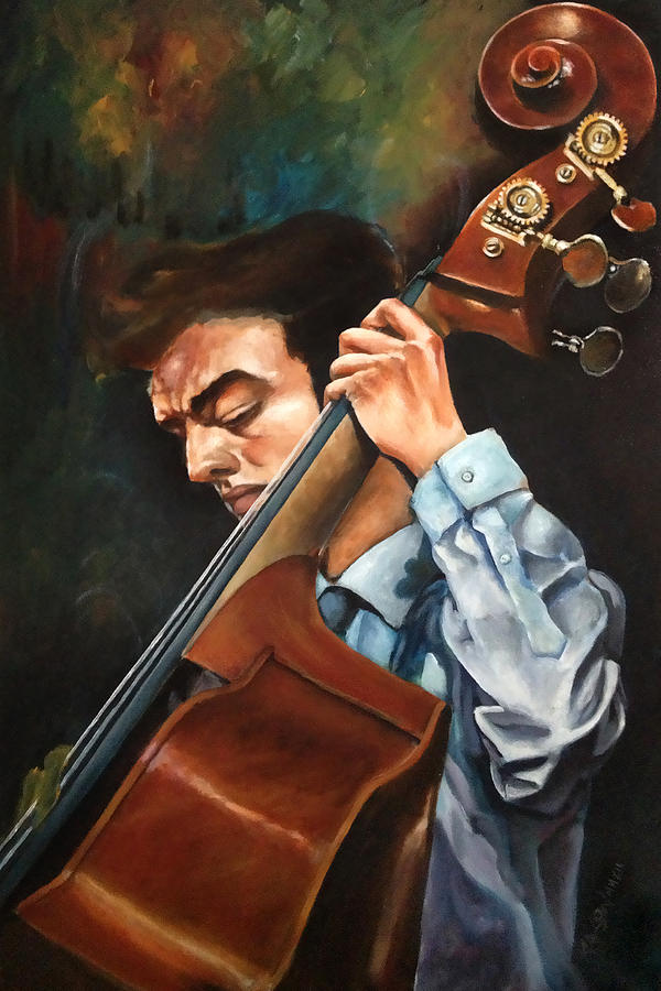 Music Painting - Double Bass Player by Ka-Son Reeves