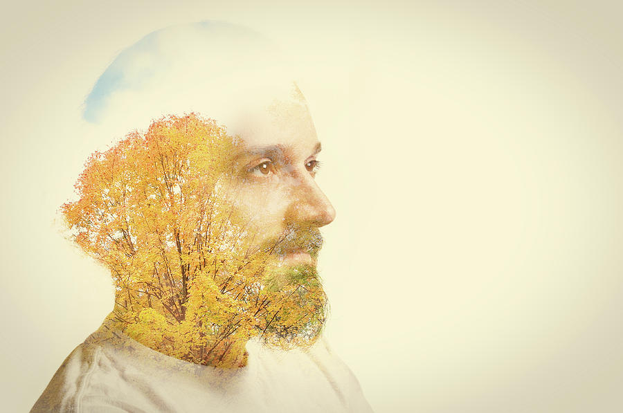Double Exposure Man With Beard And Fall Photograph by Sdominick