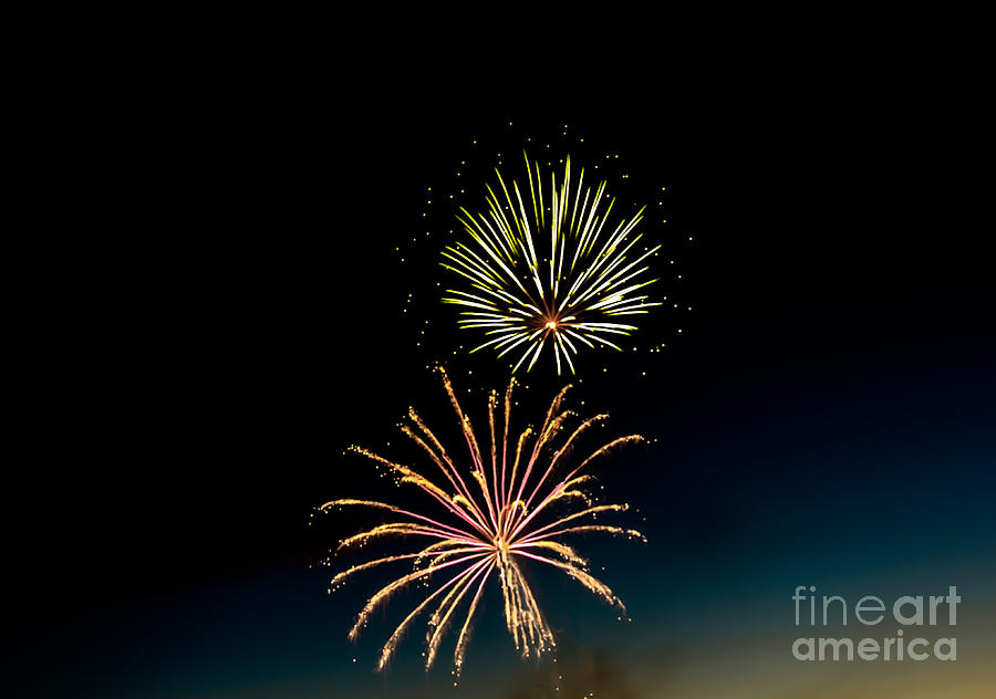 Fireworks Photograph - Double Fireworks Blast by Robert Bales