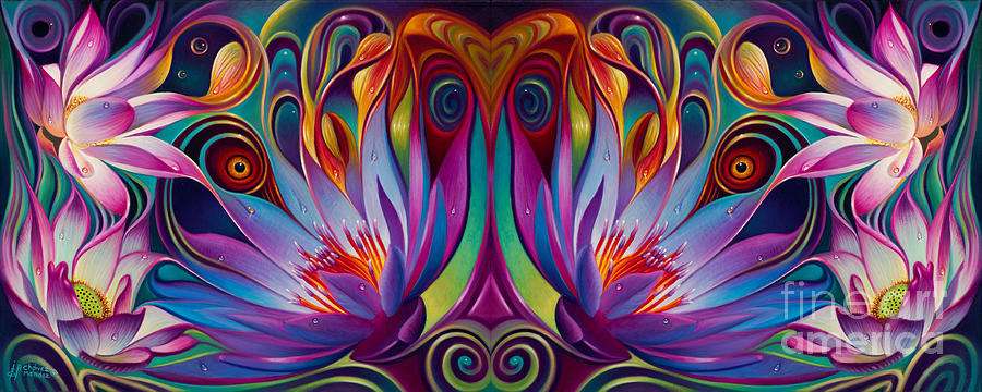 Lotus Painting - Double Floral Fantasy by Ricardo Chavez-Mendez