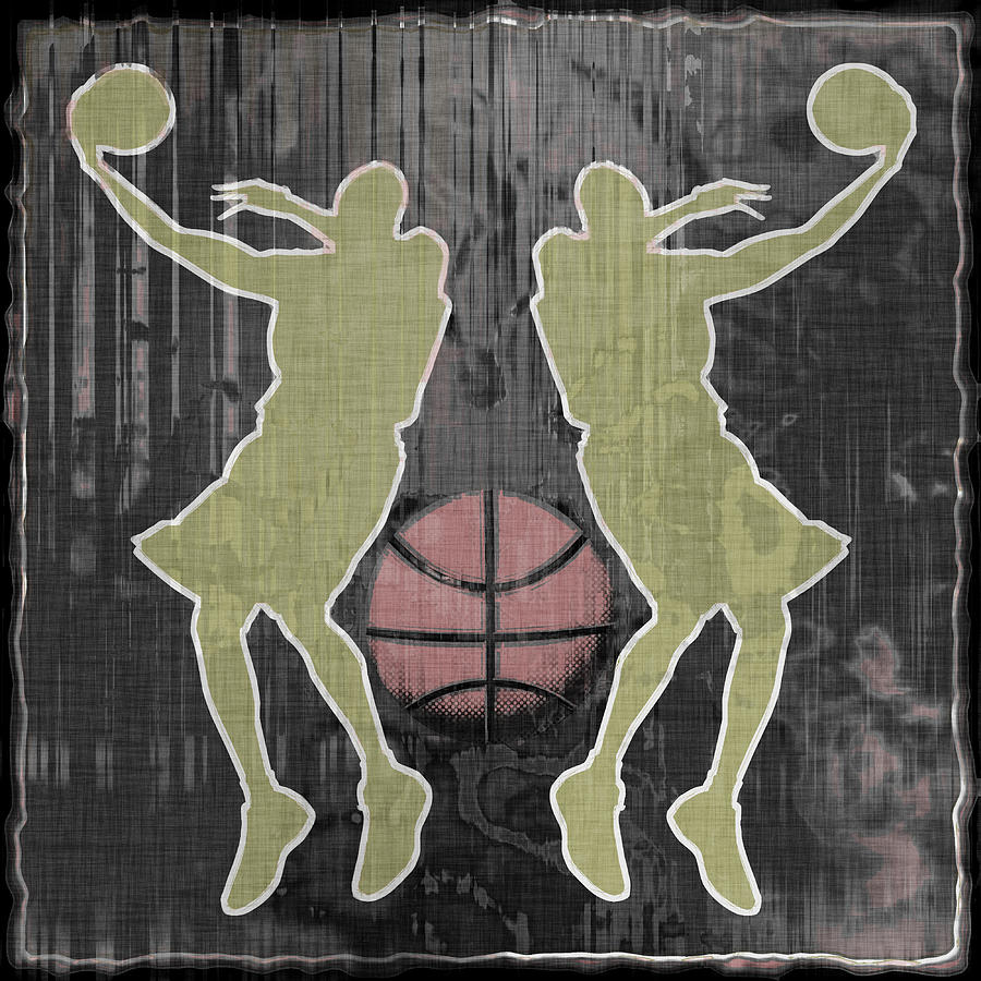 Basketball Digital Art - Double Hook by David G Paul