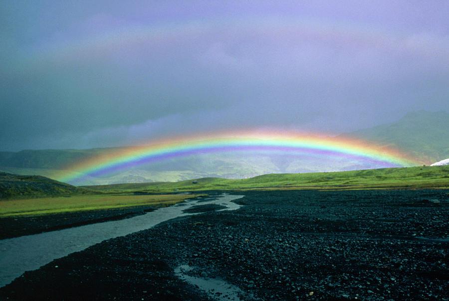 Double Rainbow Photograph - Double Rainbow Over Iceland by Simon Fraser/science Photo Library