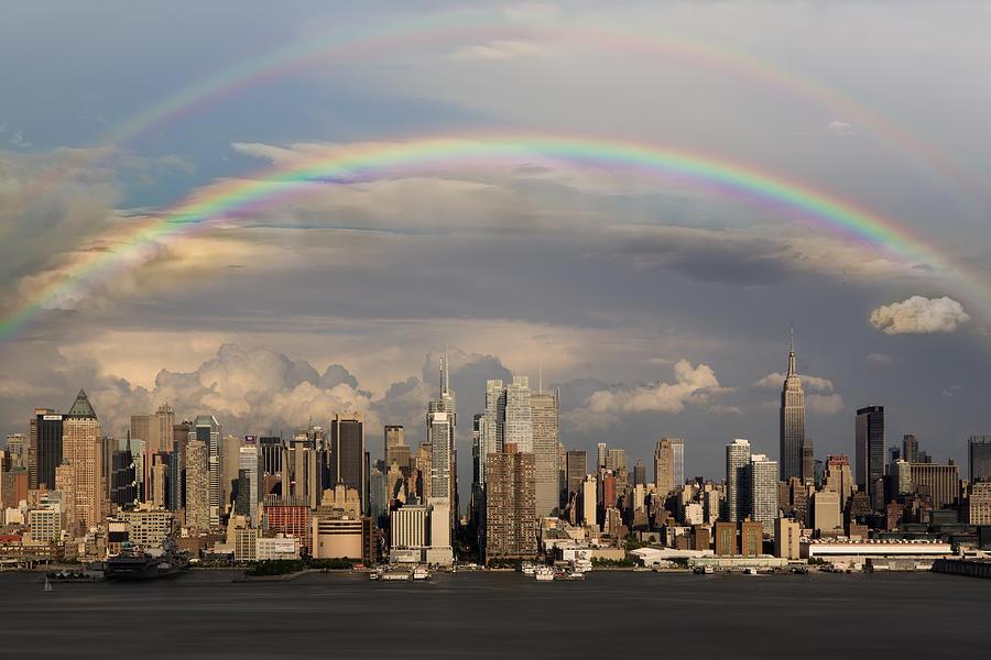 New York City Skyline Photograph - Double Rainbow Over Nyc by Susan Candelario