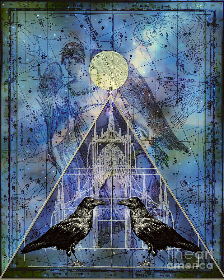Raven Digital Art - Double Raven Constellation by Judy Wood