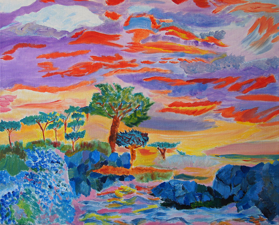 Sunset Painting - Candy Coated Monterey Sunset by Meryl Goudey