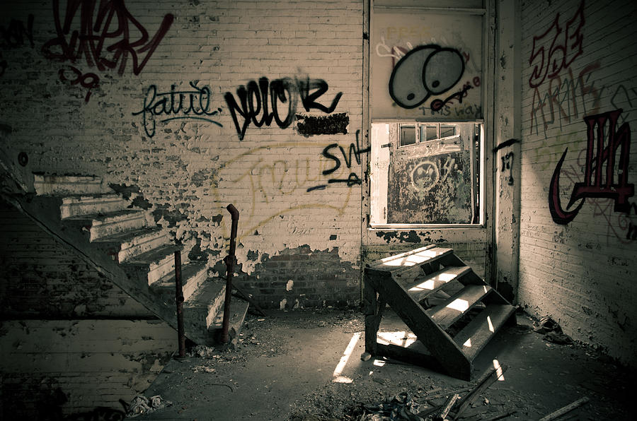 Packard Automotive Plant Photograph - Double Stairs by Priya Ghose