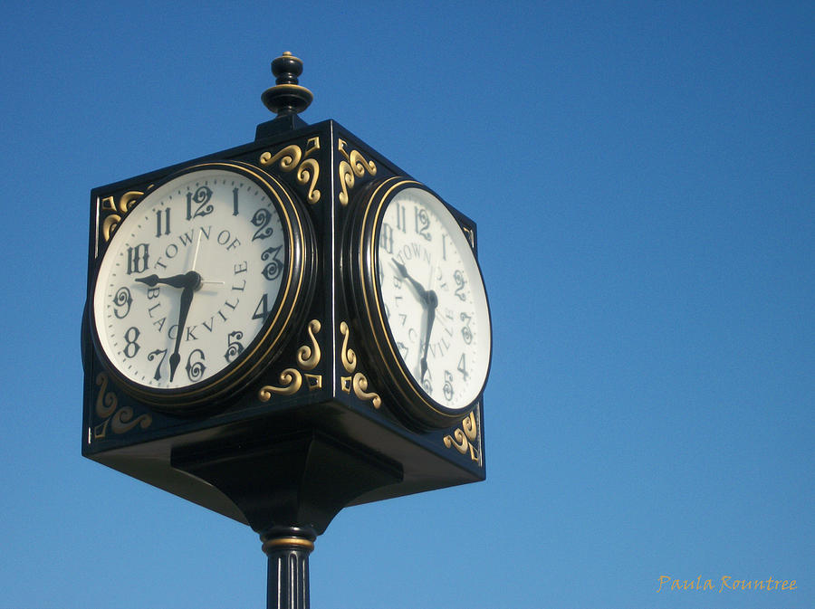 Clock Photograph - Double Time by Paula Rountree Bischoff