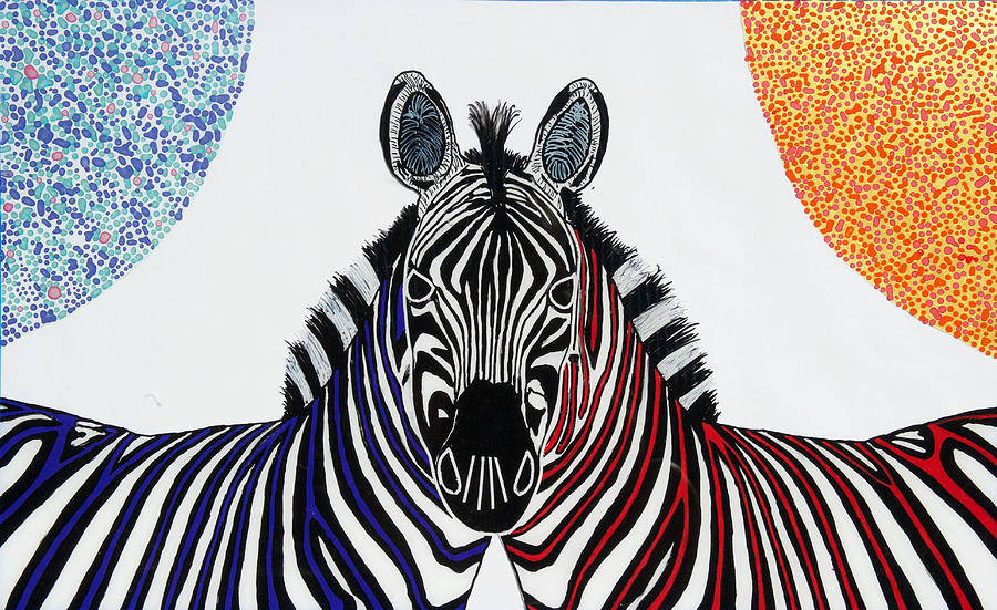 Plexiglass Painting - Double Zebra by Patrick OLeary