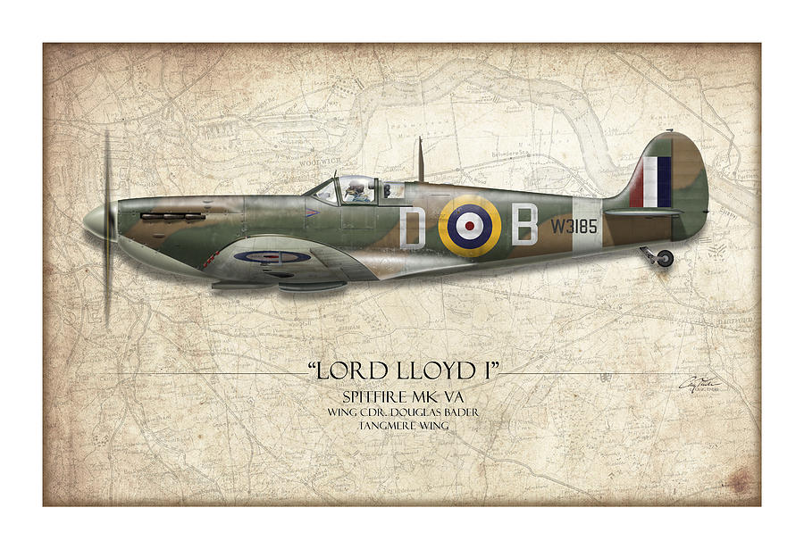 Aviation Painting - Douglas Bader Spitfire - Map Background by Craig Tinder