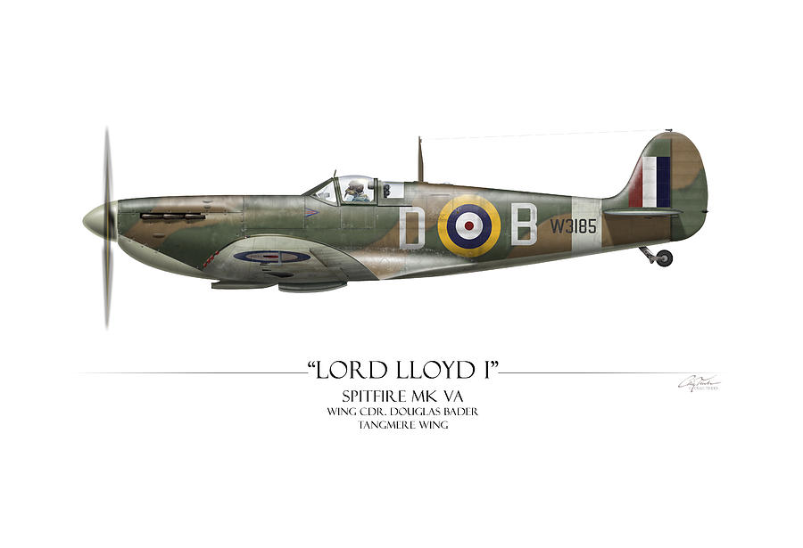 Aviation Painting - Douglas Bader Spitfire - White Background by Craig Tinder