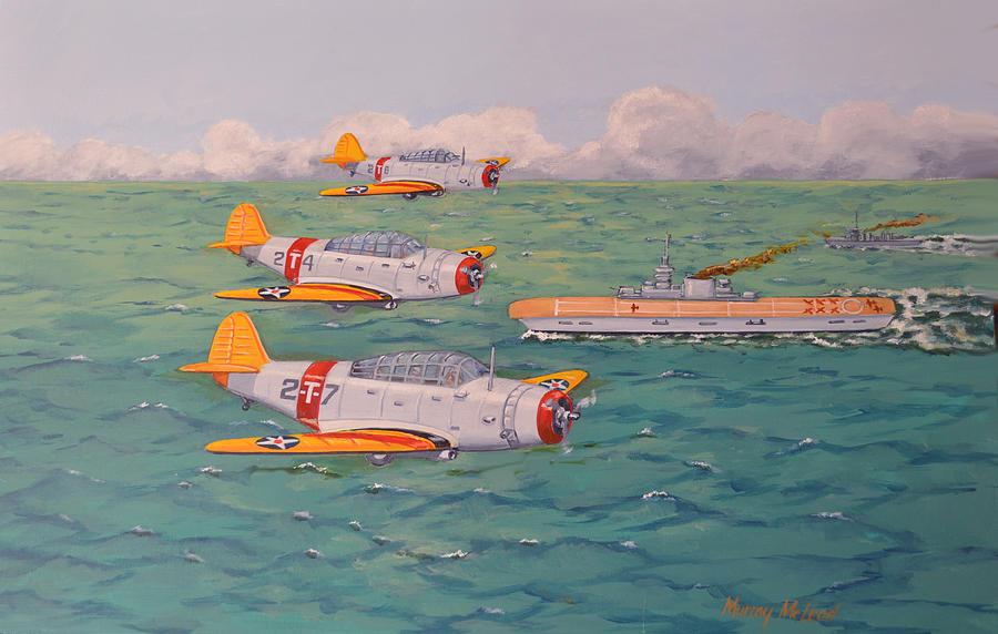 Aviation Study Painting - Douglas Devastators by Murray McLeod