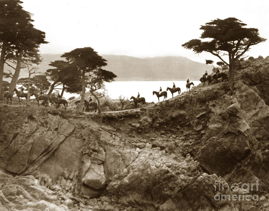 Lone Cypress Photograph - Douglas School For Girls At Lone Cypress Tree Pebble Beach 1932 by California Views Archives Mr Pat Hathaway Archives