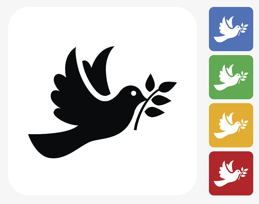 Dove Icon Flat Graphic Design Drawing by Bubaone