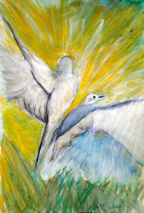 Mourning Doves Painting - Doves At Sunrise by Linda Waidelich