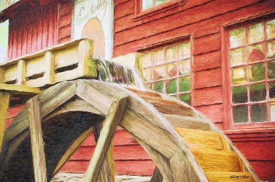 Flour Painting - Down By The Old Mill by Jeffrey Kolker