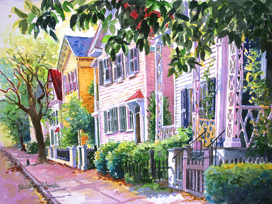 Charleston Painting - Down On Franklin Street by Alice Grimsley