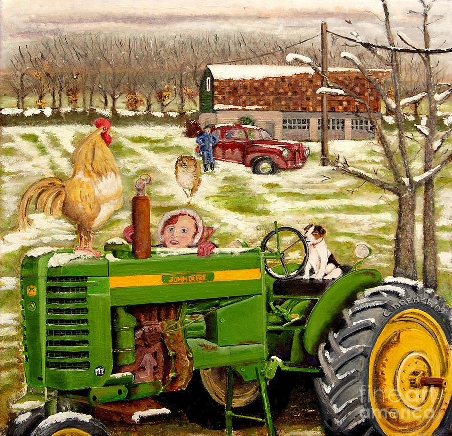 John Deere Tractor Painting - Down On The Farm by Chris Dreher