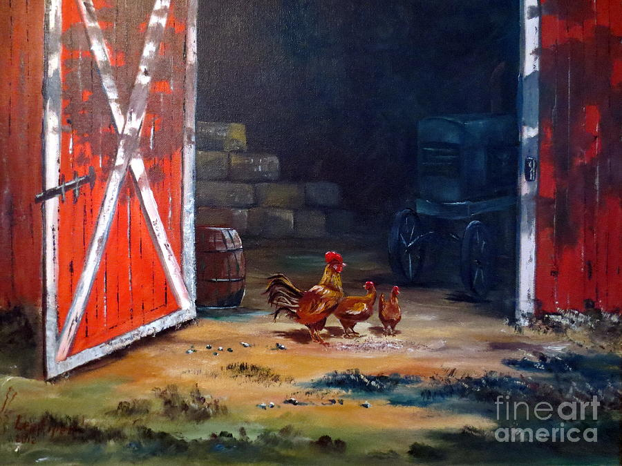 Chickens Painting - Down On The Farm by Lee Piper