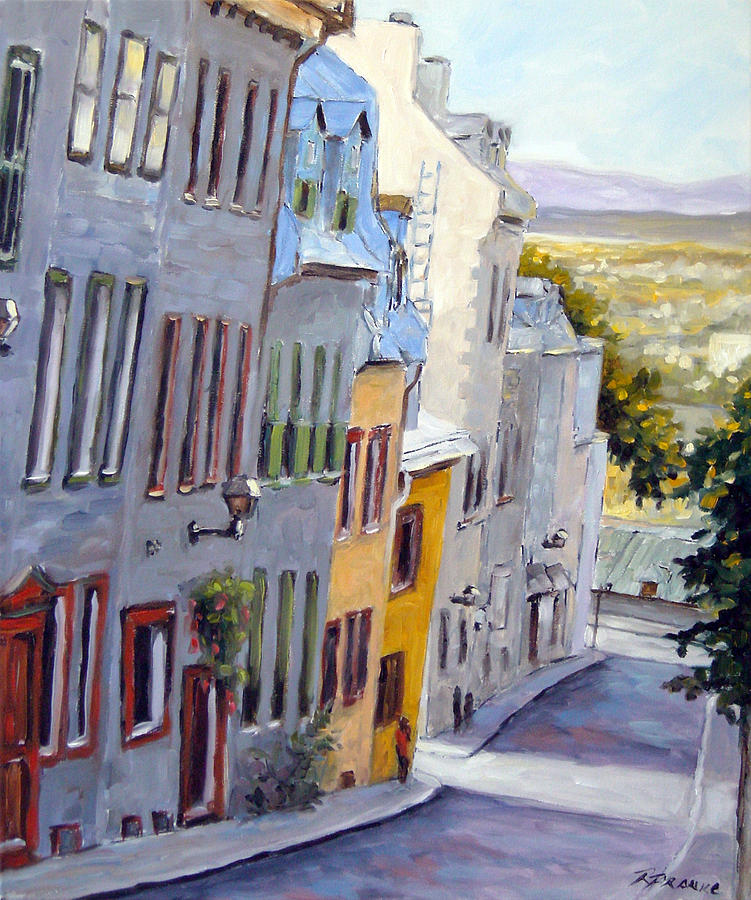 Urban Painting - Down The Hill Old Quebec City by Richard T Pranke