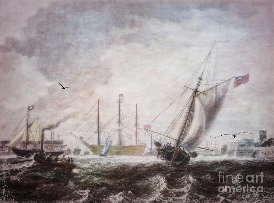 Seascapes Digital Art - Down To The Sea In Ships by Lianne Schneider