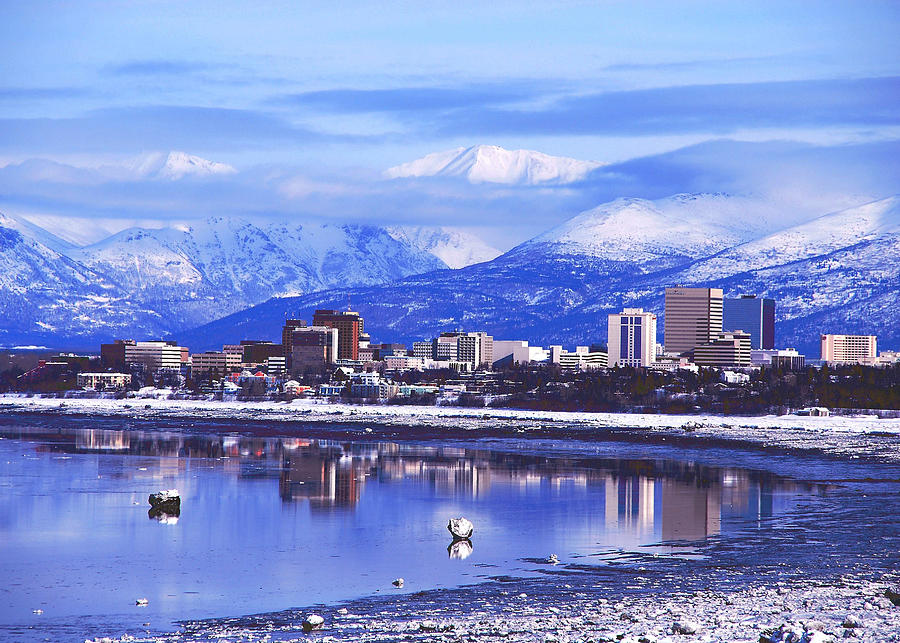 Downtown Anchorage, Alaska Photograph by Blue Poppy