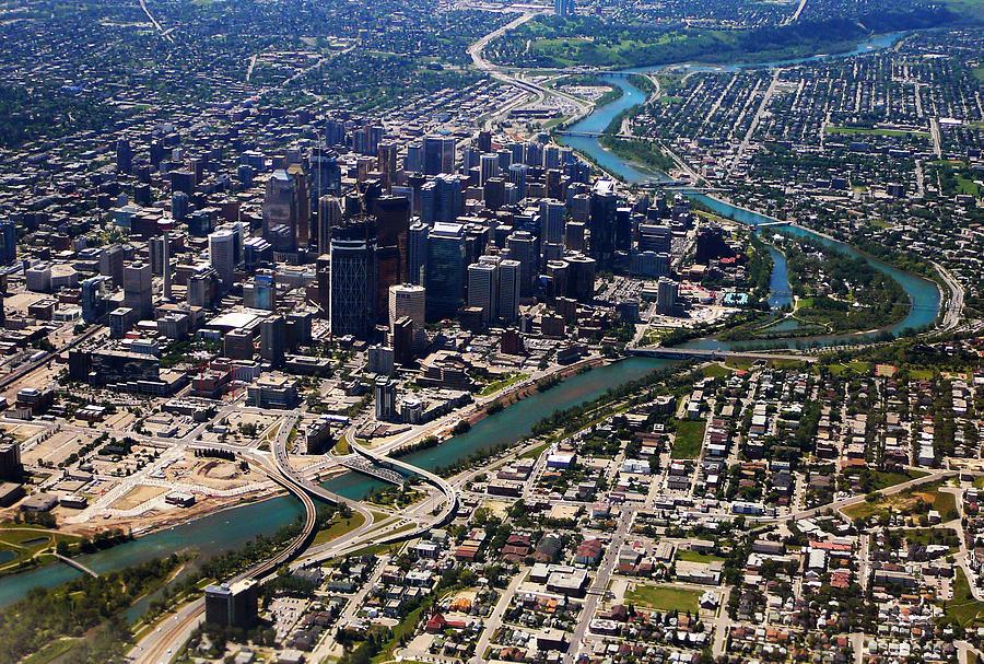 Downtown Calgary Aerial View Photograph By Eti Reid