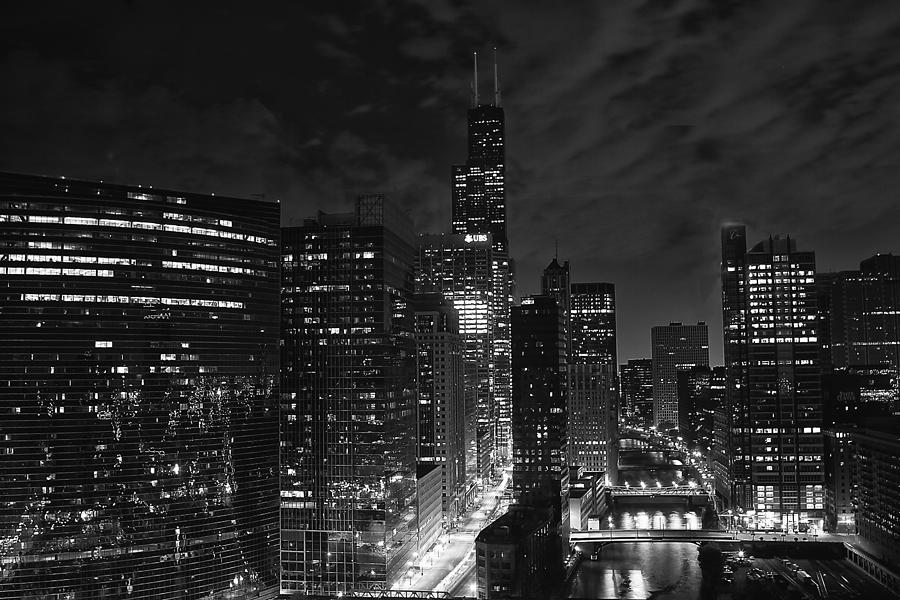 Canon Photograph - Downtown Chicago at Night by Ricky L Jones