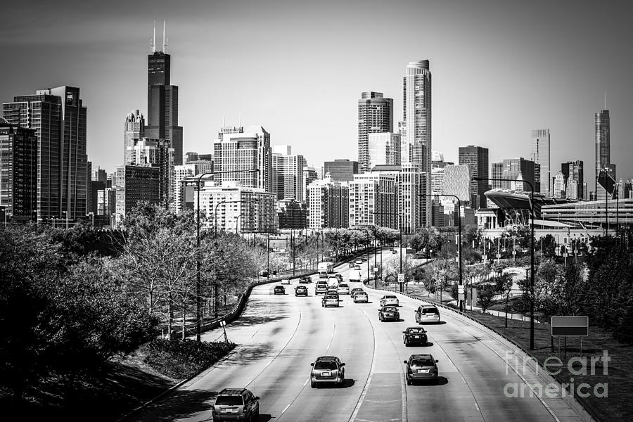 America photograph downtown chicago lake shore drive in black and white by paul velgos
