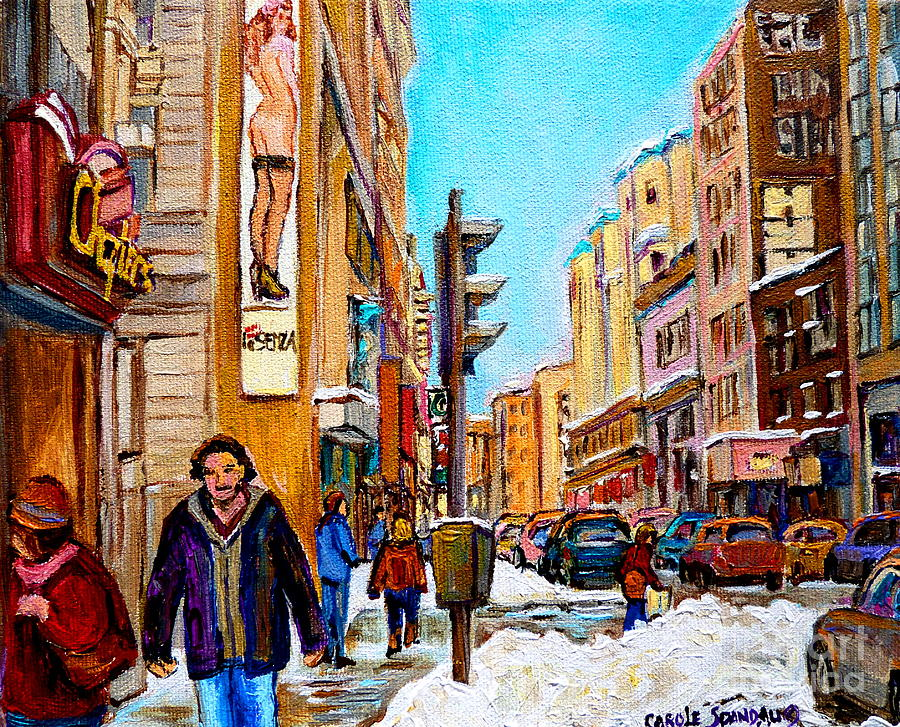 Canadian Paintings Painting - Downtown City Life by Carole Spandau