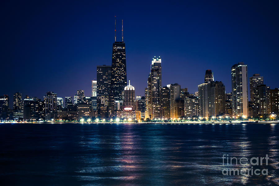 America Photograph - Downtown City Of Chicago At Night by Paul Velgos