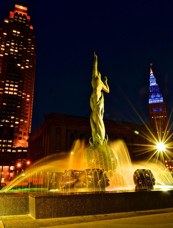 Downtown Photograph - Downtown Cleveland by Frozen in Time Fine Art Photography