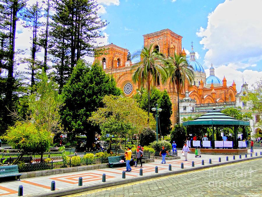 Hdr Photograph - Downtown Cuenca Ecuador by Al Bourassa