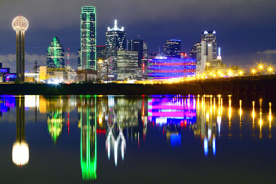 Downtown Dallas Skyline Reflections Photograph by Matthew Visinsky