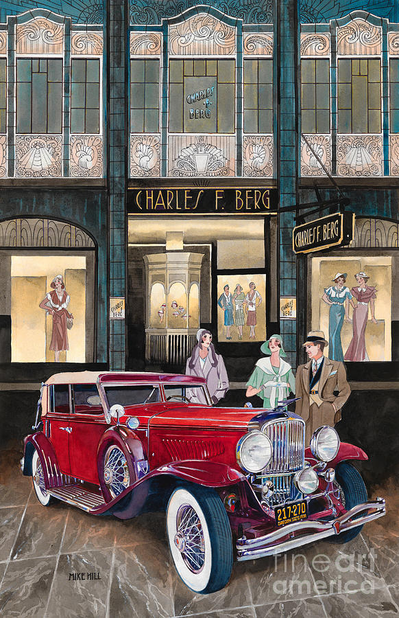 Downtown Duesenberg 1931 Painting by Mike Hill
